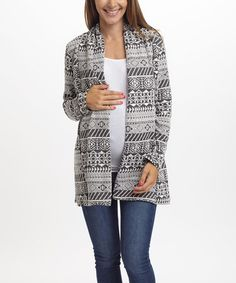 Another great find on #zulily! PinkBlush Gray & White Geo Maternity Open Cardigan #zulilyfinds