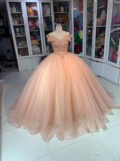 Long Prom Dress Off the Shoulder Wedding Dress Lace Beads | Etsy Quinceanera Dresses Peach, Peach Prom Dresses, Quince Dresses, Wedding Dresses, Ball Gown Dresses, Tulle Dress, Lace Dress, Elegant Ball Gowns, Cosplay Dress