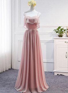 Pink Simple Chiffon A-line Bridesmaid Dress 2018, Party Dress, Pink Pa – BeMyBridesmaid