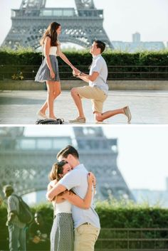He asked her to marry him in front of the Eiffel Tower, and she couldn't say yes fast enough. <3
