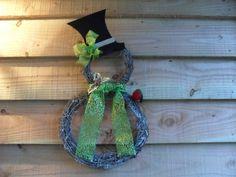 Snowman Wreath Christmas Wreath Grapevine Wreath by smccathie