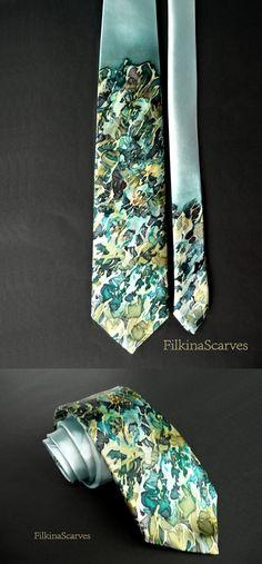 @FilkinaScarves on Etsy Silk Necktie Mens tie Wedding Necktie Emerald tie Litle flowers tie Hand Painted necktie unique Silk tie Handpainted Tie Groomsman gift FS21