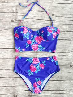 Shop Blue Floral Print High Waist Bikini Set online. SheIn offers Blue Floral Print High Waist Bikini Set & more to fit your fashionable needs.