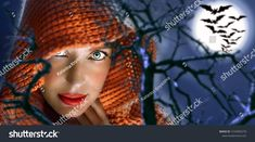Woman dressed in the orange cape looking straight with a scary look. She are on the Halloween night in forest. Moon and bats on the background. Pictures For Sale, Halloween Night, Bats, Scary, Moon, Orange, Dresses, The Moon, Vestidos