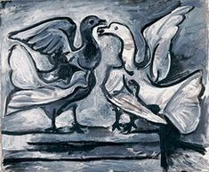 Pablo Picasso. Two pigeons with wings deployees, 1960
