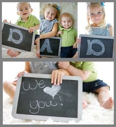 Chalkboard Photo Gift each of the 3 kids could hold the letters! 3 Kids, Diy For Kids, Crafts For Kids, Photography Kids, Photography Basics, Birthday Crafts, Dad Birthday, Parent Gifts, Family Gifts