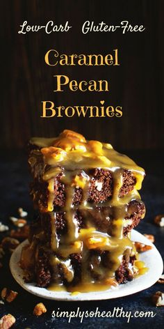 These Low-Carb Caramel Pecan Brownies seem indulgent, but this recipe can be a part of low-carb, gluten free, Atkins, ketogenic, lc/hf, and Banting diets.