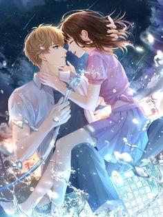 Cute Couple Art, Anime Love Couple, Romantic Anime Couples, Cute Anime Couples, Dark Anime Guys, Cute Anime Guys, Manga Anime Girl, Kawaii Anime Girl, Cute Romance