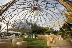 Cupola geodetica in simil-wood con allestimenti ed illuminazione interni #LerianSrl