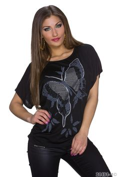 Sabine shirt sort - Shirt med fint sommerfugl print. Materiale: Viskose 95%, elastan 5% Kr. 179,-
