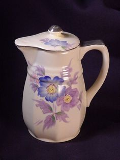 Vintage Mikori Ware Creamer Pitcher 6 inches Flowers & Silver Trim Made in Japan #mikoriWare