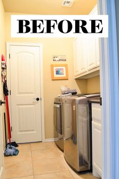 This small builder basic laundry room was beige and dysfunctional. You wouldn't believe what it looks like now after a total DIY renovation! Laundry Room Sink, Small Laundry Rooms, Laundry Room Organization, Cabinet Door Styles, Inspired Homes, French Door Refrigerator, Simple House, Home Renovation, Diy Home Decor