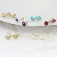 Oval gemstone and sterling silver stud earrings. a lovely silver jewellery gift her birthday, valentines, anniversary or Christmas, as all of them are also birthstones Sterling Silver Earrings Studs, Silver Jewellery, June Birth Stone, Silver Gifts, Birthstone Jewelry, Women's Earrings, Jewelry Gifts, Peridot, Amethyst