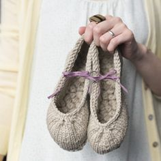 Slippers knit from organic cotton -must knit list.