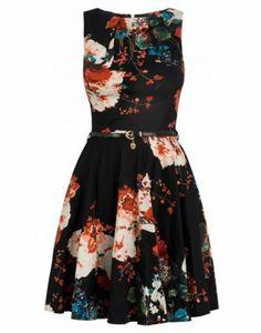 Closet winter floral flare dress