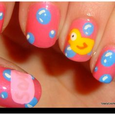 Rubber duck themed nails