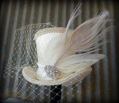 RESERVED FOR VALERIE, Alice in Wonderland Mini Top Hat, Bridal Facinator, Easter Hat, Tiny Top Hat, Tea Party Hat, Mad Hatter Hat