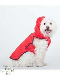 Roll-N-Go Raincoat Red - Just in case it rains. Waterproof with a protective hood. Rolls up to attach to a leash or fits easily in a small purse or bag. Get it from Petstore.com $9.47 #pets #dog #fashion #apparel