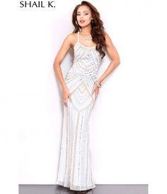cd807a6253d Cascade Beaded Gown Ivory Silver Gold Shail K