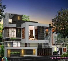 Kerala home design and floor plans: Single floor turning to a double floor home 2 Story House Design, Duplex House Design, Small House Design, Modern House Design, Home Design, Design Ideas, Front Elevation Designs, House Elevation, Front Wall Design