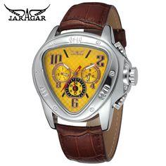 2017 JARAGAR Luxury Orologio Uomo Watch Yellow Triangle Auto Mechanical Watches Men 6-hands Wristwatch Free Ship