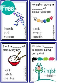 Collective nouns task cards for first grade, second grade and third grade. Collective Nouns Worksheet, Nouns First Grade, Flock Of Crows, Herd Of Elephants, Pile Of Books, Plural Nouns, Picture Cards, Anchor Charts, Task Cards