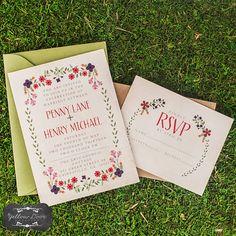 Wedding Invitation / / Rustic Invite Set / / Kraft Paper Envelope / / Floral Burlap & Lace on Etsy, $2.75