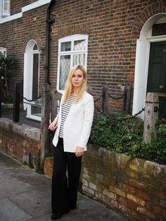 Black & white suit for women on the streets of London
