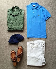 60 s Vintage U.S.Army  JungleFatigueJacket  Lacoste Polo Shirt Made in  France  RalphLauren Cotton Bucket Hat 60 s Vintage  Levis  911B  BigE Pique  Pants ... 1b18cc808837