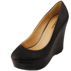32bcf28f459317 Top Moda Women`s River-76 Soft PU Leather Wedges
