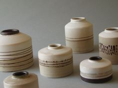 James and Tilla Waters.  Ink bottles. Raw glazed stoneware. height approx 5cm – 10cm.  2002/3