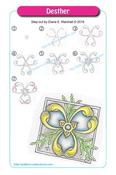 Desther by Diana E. Zentangle Drawings, Doodles Zentangles, Doodle Drawings, Doodle Art, Zen Doodle Patterns, Zentangle Patterns, Doodle Borders, Tangle Doodle, Tangle Art