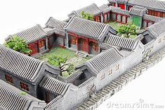 China s courtyard model stock image. Image of architecture - 12736393 Ancient Chinese Architecture, China Architecture, Japanese Architecture, Architecture Details, Sustainable Architecture, Residential Architecture, Courtyard House Plans, Courtyard Design, Traditional Chinese House