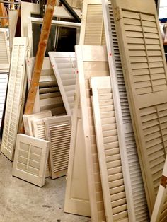 Shutters galore...from LA's Habitat for Humanity ReStore in Gardena. Click in for fun repurposing ideas using these leftover louvers!