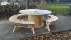 Drum Table Pallet Bench Set / Table Touret Et Ses Bancs Pallet Desks & Pallet Tables