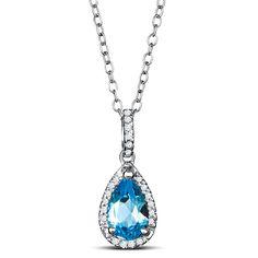 Sterling Silver Pear Shape Blue Topaz Halo Pendant