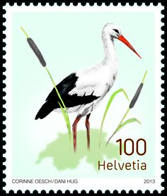 Swiss special stamp: White stork www.postshop.ch/philatelie