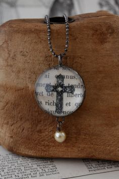 25mm Cross Bubble Glass Necklace by rochellemybelle on Etsy, $38.00