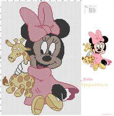 Baby Minnie Mouse with giraffe