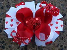 This is such a cute hair bow for a little girl - Valentine Hair Bow - Boutique Stacked Hair Bow Hair Clip Baby Hair Bows, Ribbon Hair Bows, Bow Hair Clips, Ribbon Flower, Fabric Flowers, Lady Bug, Barrette, Stacked Hair, Baby Girl Hair Accessories