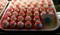 Lemon Drop Spring Rose cake balls from Austin Cake Ball Kitchen & Bar