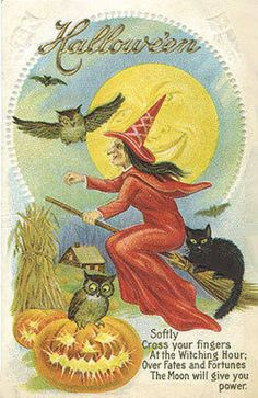 I like vintage Halloween illustrations and photographs, and other inspirations. I even like to get in touch with my inner drag queen with Halloween-inspired finger nails! Retro Halloween, Halloween Poems, Vintage Halloween Cards, Halloween Greetings, Halloween Scene, Halloween Pictures, Holidays Halloween, Halloween Kids, Halloween Crafts