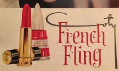 Coty French Fling Nail Polish and 24 Lipstick 1959