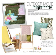 """""""outdoor movie night party"""" by gentillehome ❤ liked on Polyvore featuring interior, interiors, interior design, home, home decor, interior decorating, Polaroid, Pottery Barn, Bloomingville and Telescope Casual"""