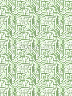 Seamless, Repeating Printed Circuit Pattern/Background Royalty Free Stock Vector Art Illustration