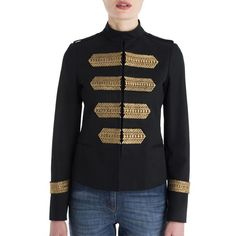 Valentino Embroidered Cotton Military Jacket (38,950 GTQ) ❤ liked on Polyvore featuring outerwear, jackets, apparel & accessories, black, military inspired jacket, army jacket, long sleeve jacket, cotton jacket and stand collar jacket