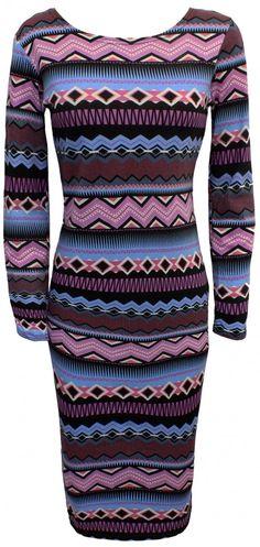 Chilled Aztec Long Sleeve Midi Dress
