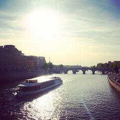 Looking down the River Seine at dusk #paris #seine