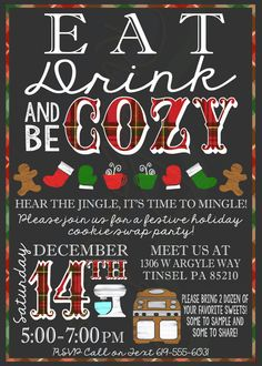 Printable Holiday/Christmas Party Invitation / Cookie Swap Party Invite by RiverMamasDesigns