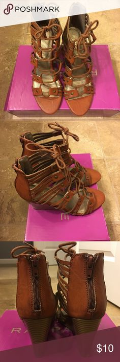 Rampage Lace Up Sandal wedge. New in box! Never worn. Kandu Cognac color wedge. Size 7&1/2. Super cute & not too high. Rampage Shoes Wedges
